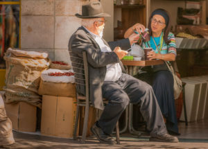 A pause for coffee and conversation, Yaffo Street, Jerusalem